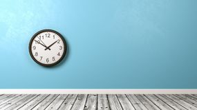 Clock Against Wall in Wooden Floor Room vector illustration