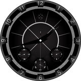 Black clock with aggressive design Royalty Free Stock Images