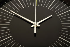 Black clock face. And hands closeup royalty free stock images