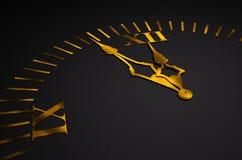 Black clock with golden hands 3d Stock Image