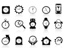 Black clock icon set Stock Photos