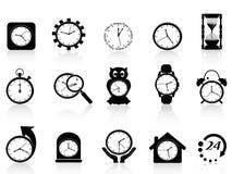 Black clock icon set. Several black clock icon set for design Stock Photos