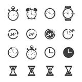Black clock icons set Stock Images