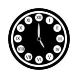 Black clock with roman numerals icon isolated. Five o`clock royalty free illustration