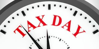 Clock dial tax day #2. Black clock with Tax day, three-dimensional rendering, 3D illustration vector illustration