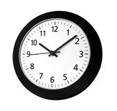 Black clock on wall. Reads ten past ten isolated on white background Stock Photos