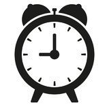 Black clock on white illustration isolated vector. Sign Royalty Free Stock Photography