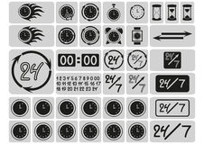 Black clocks icons in the gray squares, arrows, 24 hours a day and 7 days a week, hand drawn digits, signs set Royalty Free Stock Photos