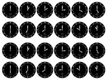 Black clocks on white background Royalty Free Stock Images