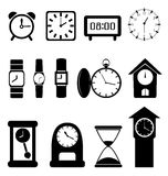 Black clocks on white background Royalty Free Stock Image