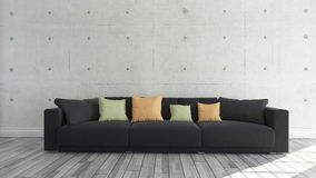 Black cloth sofa with concrete wall, background, template design. Black cloth sofa with concrete wall and wooden parquet decor like loft style, background Stock Photography