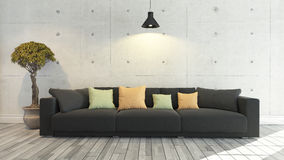 Black cloth sofa with concrete wall, background, template design Stock Photo