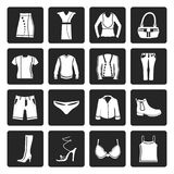 Black Clothing and Dress Icons Stock Photography
