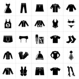 Black Clothing and Fashion collection icons. Vector icon set Royalty Free Stock Images