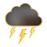 Black Cloud with Bolt of Lightning Royalty Free Stock Photos