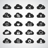 Black cloud icons set Stock Photography