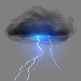Black cloud with lightning Royalty Free Stock Photo
