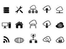 Black cloud network icons set. Isolated black cloud network icons set from white background Royalty Free Stock Photo