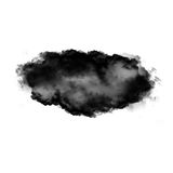 Black cloud of smoke isolated over white background. 3D realistic illustration, single cloud 3D rendering Royalty Free Stock Images