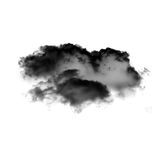 Black cloud of smoke isolated over white background. 3D rendering illustration Royalty Free Stock Images