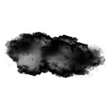 Black cloud of smoke isolated over white background. 3D rendering illustration Stock Images