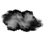 Black cloud of smoke isolated over white background. 3D rendering illustration Royalty Free Stock Photos
