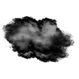 Black cloud of smoke isolated over white background. Black smoky cloud  isolated over white background, 3D rendering illustration, realistic cloud or smoke Stock Photo