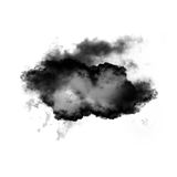 Black cloud of smoke shape isolated over white background. Black cloud of smoke isolated over white background, 3D rendering realistic cloud illustration Royalty Free Stock Photography