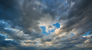 Black clouds and blue sky Royalty Free Stock Photo