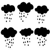 Black clouds with drops. Raster. Raster vector illustration