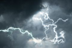 Black clouds with lightening. rain season background. Royalty Free Stock Image