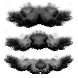Black clouds of smoke isolated over white background. Symmetrical clouds shaped isolated over black background, illustration, drawing, 3D computer generated Stock Photos