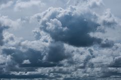 Black cloudy on dark sky for weather background.  Royalty Free Stock Image
