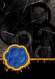 Black club speakers. Blue club speakers set on a black grunge background Royalty Free Stock Photos