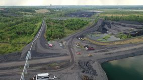Black coal ask, elimination of the aftermath of black aerial view coal mining