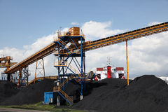 Black coal at industrial port Royalty Free Stock Photo