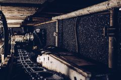 Black coal shearer. In underground coal mine Stock Photo