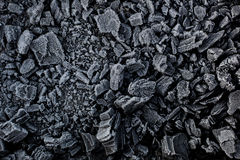 Black coal in white frost. Stock Photos