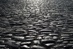 Black cobbled stone road background with reflection of light seen on the road Royalty Free Stock Images