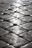 Black cobblestone street. Reflection of the sun on a black cobblestone street in Old Dubrovnik (Croatia Stock Images