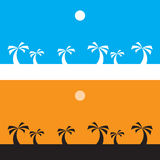 Black coconut tree on orange background and white coconut tree on blue background,  silhouette Royalty Free Stock Image