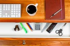 Black Cofee on top of cherry desktop Stock Images