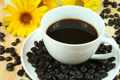 Black coffee. Cup of black coffee and beans. Composition with flowers Royalty Free Stock Photography