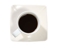 Black coffee. Closeup image of top view hot black coffee on white background Stock Photos