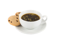 Black coffee with added butter, accompanied with butter cookie.  royalty free stock image