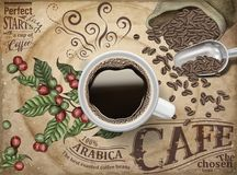 Black coffee ads. Top view of 3d illustration black coffee on retro engraving coffee cherries and beans background vector illustration