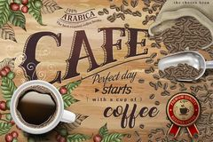 Black coffee ads. Top view of 3d illustration black coffee on retro engraving coffee cherries and beans background Royalty Free Stock Photography