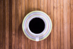 Black coffee. On bamboo table Stock Photos
