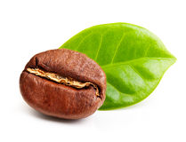 Black coffee bean, grain with leaf Royalty Free Stock Image
