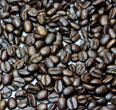 Black coffee beans, close-up of coffee beans Stock Images
